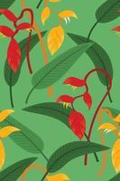 fond d'écran sans couture de fleurs d'héliconia et de feuilles pour fond de plantes tropicales vecteur