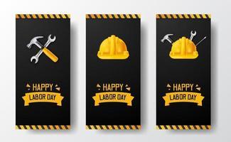 Bannière d'histoires de médias sociaux pour la fête du travail avec un travailleur de casque de sécurité 3d, un marteau, une clé, avec une ligne jaune et un fond noir vecteur