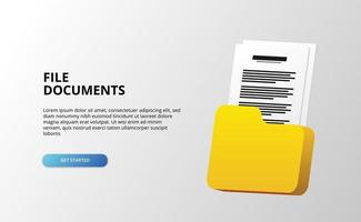 Concept d'illustration de dossier de document de fichier 3D pour l'administration d'entreprise de répertoire avec fond blanc vecteur