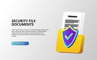 Protection de bouclier 3D avec document de dossier de fichiers pour la sécurité de la confidentialité des informations de données commerciales antivirus avec fond blanc vecteur