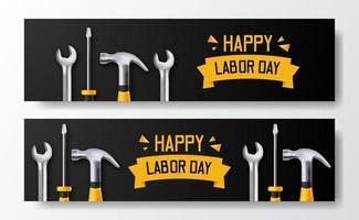 joyeuse fête du Travail. journée internationale des travailleurs. ingénieur employé avec tournevis 3d, marteau, clé, avec fond noir. modèle de flyer de bannière vecteur