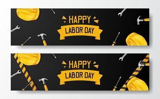 joyeuse fête du Travail. journée internationale des travailleurs. ingénieur employé avec casque et marteau jaune de sécurité 3d, tournevis, clé et ligne jaune, avec fond noir. modèle de flyer de bannière vecteur