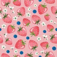 modèle sans couture d'été aux fraises. dessin animé fond girly. vecteur