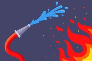 le tuyau d'incendie éteint les flammes avec de l'eau. éteindre le feu dans le bâtiment. illustration vectorielle plane. vecteur