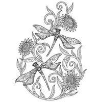 libellule sur fond blanc. croquis dessiné à la main pour livre de coloriage adulte vecteur