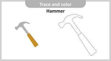 marteau de trace et de couleur vecteur