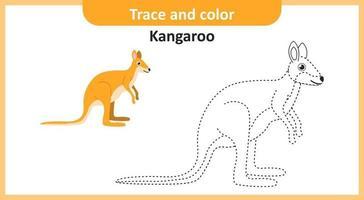 trace et couleur kangourou vecteur
