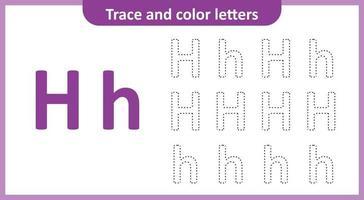 tracer et colorier les lettres h
