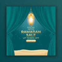 bannière d'annonces de vente ramadan avec rideau et lanterne. modèle de publication de médias sociaux modifiable pour la promotion. vecteur