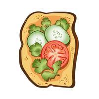 pain grillé aux tomates, persil et concombres vecteur