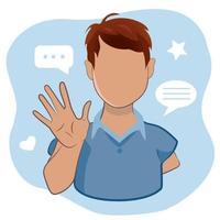 jeune homme agitant la main salutation ou dire au revoir sur fond bleu clair. personnage masculin de dessin animé avec un geste de bienvenue en illustration vectorielle. vecteur