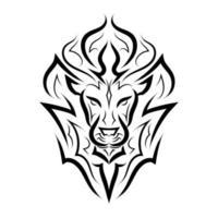 dessin au trait noir et blanc de l'avant de la tête du lion. c'est signe du zodiaque du lion. bon usage pour le symbole, la mascotte, l'icône, l'avatar, le tatouage, la conception de t-shirt, le logo ou tout autre design que vous souhaitez. vecteur