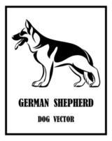 chien de berger allemand noir et blanc eps 10 vecteur