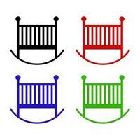 icône de lit de bébé sur fond blanc vecteur