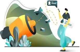 marketing par e-mail concept d'illustration plat d'hommes faisant la promotion de produits à l'aide de smartphones, parfait pour les pages de destination, les modèles, l'interface utilisateur, le web, l'application mobile, les affiches, les bannières, les dépliants. vecteur