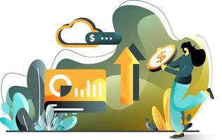 illustratipay par clic concept d'illustration plate des femmes qui paient pour la publicité à l'aide de pièces de monnaie, parfait pour les pages de destination, les modèles, l'interface utilisateur, le web, l'application mobile, les affiches, les bannières, les dépliants. vectoron
