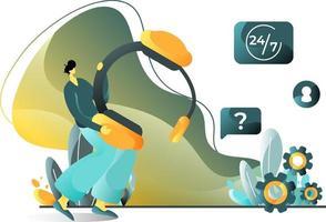 service client illustration plat concept d'hommes au service des consommateurs qui rencontrent des problèmes, parfait pour les pages de destination, les modèles, l'interface utilisateur, le web, l'application mobile, les affiches, les bannières, les dépliants. vecteur