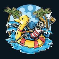 crâne assis sur un canard flottant et profiter de la plage vecteur