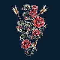 serpent venimeux coupé en morceaux avec des illustrations de fleurs vecteur