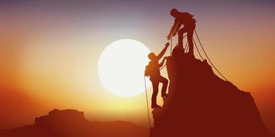 symbole d'entraide entre deux grimpeurs vecteur