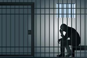 un homme pensant en prison vecteur