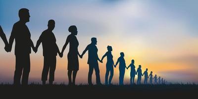 chaîne humaine de solidarité vecteur
