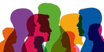 silhouettes de couleurs différentes de profils masculins vecteur