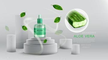 produits cosmétiques ou de soin de la peau. maquette de bouteille et aloe vera avec fond géométrique. illustration vectorielle. vecteur