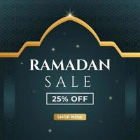 conception de bannière de vente ramadan. modèle de publication de médias sociaux avec fond islamique. illustration vectorielle. vecteur