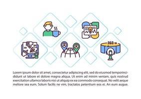 icônes de ligne concept avantages événement virtuel avec texte vecteur