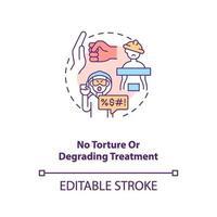 Aucune icône de concept de torture ou de traitement dégradant vecteur