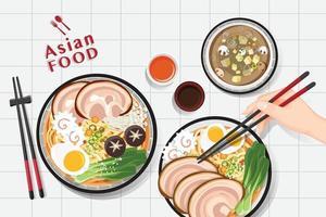 nouilles ramen, soupe de nouilles asiatiques traditionnelles, vecteur d'illustration.