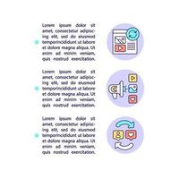 comment ça marche les icônes de ligne de concept avec du texte vecteur