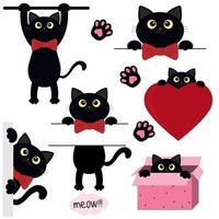 ensemble mignon chaton noir vecteur