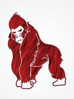 dessin animé gorille en colère vecteur