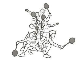 Équipe de joueurs de badminton sport hommes et femmes vecteur