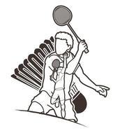 Contour de joueur de badminton hommes vecteur