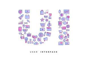 collage d'icônes de l'interface utilisateur vecteur