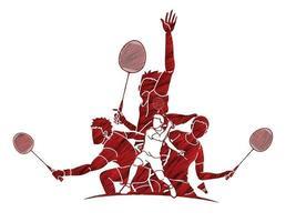 Action d'équipe de joueurs de badminton vecteur