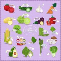 jeu d'icônes de légumes vecteur