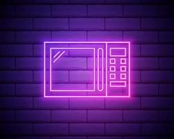 Icône de four à micro-ondes néon lumineux isolé sur fond de mur de brique vecteur