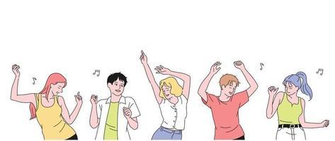 les gens dansent avec enthousiasme. illustrations de conception de vecteur de style dessiné à la main.