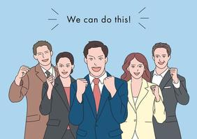 les gens d'affaires en costume montrent des expressions positives avec les poings serrés. illustrations de conception de vecteur de style dessiné à la main.