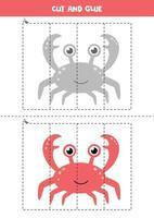 jeu de coupe et de colle pour les enfants. crabe de dessin animé mignon. vecteur