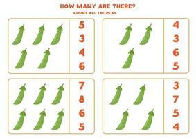 jeu de comptage avec pois verts de dessin animé. feuille de calcul mathématique. vecteur