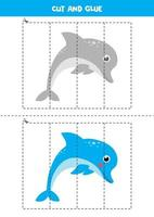 jeu de coupe et de colle pour les enfants. dauphin bleu de dessin animé mignon. vecteur