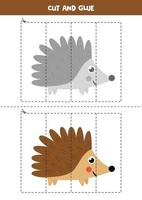 jeu de coupe et de colle pour les enfants. hérisson de forêt de dessin animé mignon. vecteur
