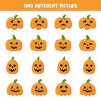trouvez la citrouille d'Halloween qui est différente des autres. vecteur