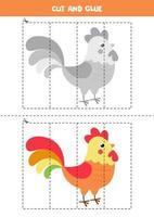 jeu de coupe et de colle pour les enfants. coq coloré de dessin animé mignon. vecteur