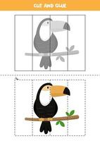 jeu de coupe et de colle pour les enfants. toucan de dessin animé mignon. vecteur